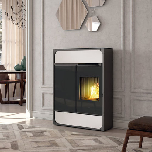 pellet heating stove / contemporary / cast iron / glass