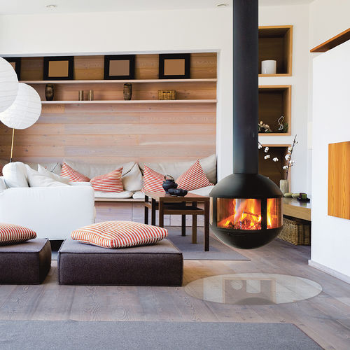 wood-burning fireplace / contemporary / closed hearth / central