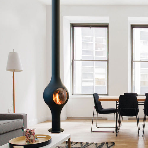 gas heating stove / contemporary / central / metal