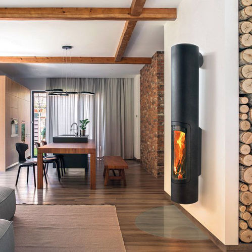 wood heating stove / gas / metal / contemporary