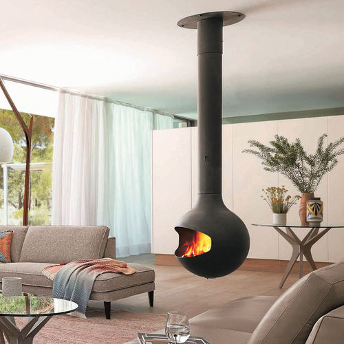 wood heating stove / central / steel / contemporary
