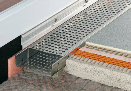 stainless steel drainage channel / with grating / patio