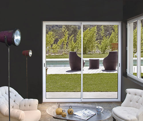 sliding patio door / aluminum / double-glazed / acoustic