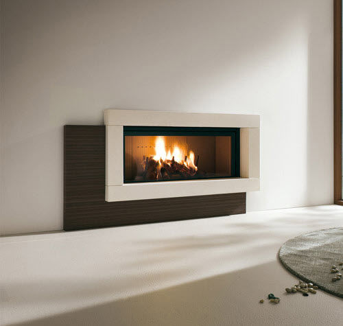contemporary fireplace surround / marble / limestone