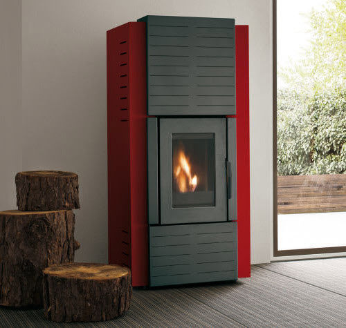 pellet boiler stove / steel / contemporary