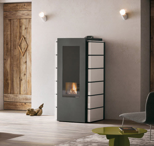 pellet boiler stove / steel / contemporary
