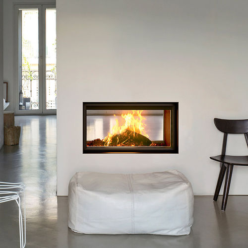 wood-burning fireplace / contemporary / closed hearth / wall-mounted