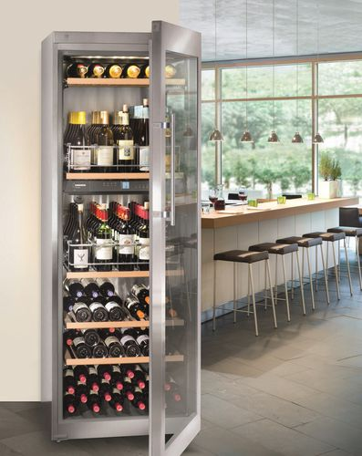 stainless steel wine cabinet / glazed / multi-temperature / integrated lighting