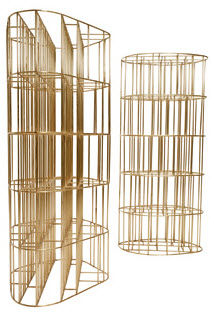 original design bookcase / brass