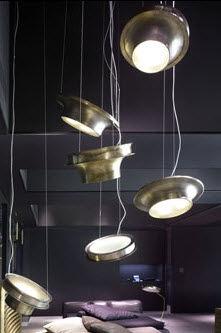 pendant lamp / original design / brass / tempered glass facing