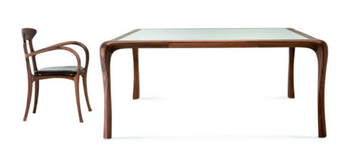 contemporary dining table / glass / oak / American walnut