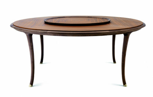 contemporary table / cherrywood / American walnut / round