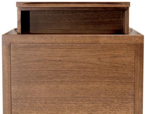 contemporary bedside table / American walnut / rectangular