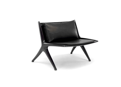 contemporary fireside chair / leather