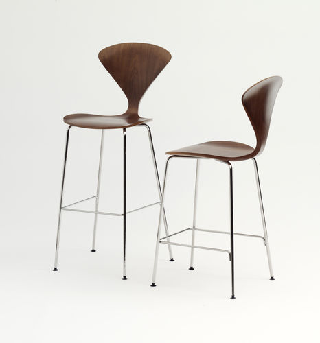 contemporary bar chair / walnut / molded plywood / metal