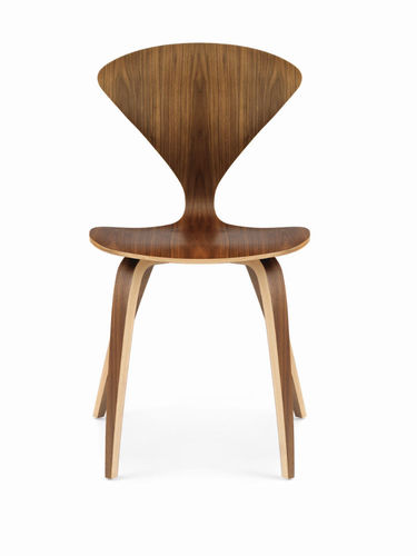 contemporary chair / upholstered / molded plywood / American walnut
