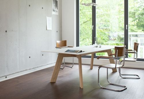 contemporary work table / solid wood / HPL / rectangular
