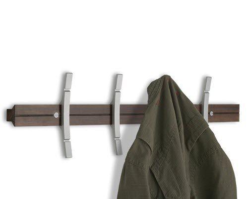 wall-mounted coat rack / contemporary / aluminum / wooden