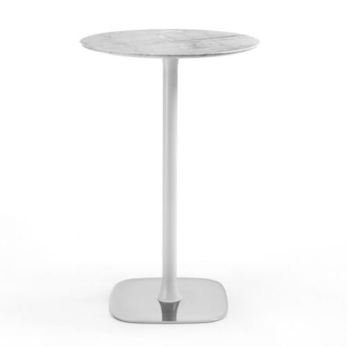 contemporary high bar table / marble / metal base / round