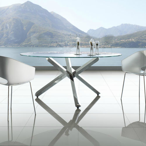 Contemporary Dining Table Verve Enrico Pellizzoni Wooden Glass Stainless Steel Base
