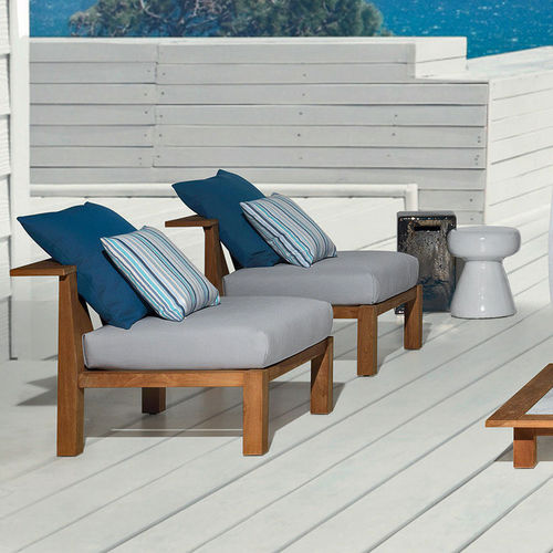 contemporary fireside chair / teak / steel / with removable cushion