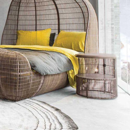 contemporary bedside table / oak / steel / nylon