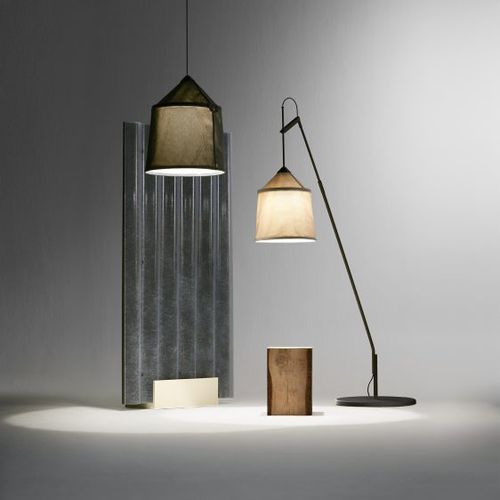 floor-standing lamp / contemporary / stainless steel / fabric