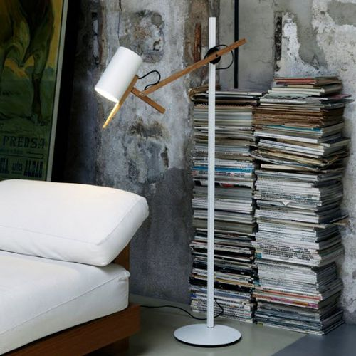 floor-standing lamp / original design / aluminum / iron