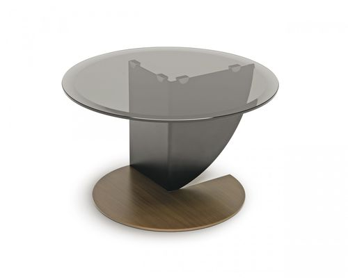 contemporary pedestal table / glass / round