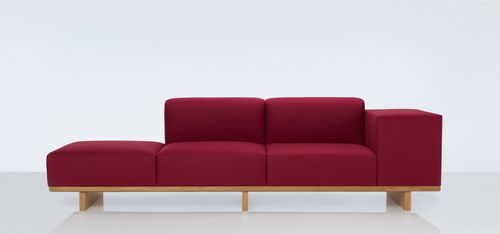contemporary sofa / oak / 3-seater / with storage compartment