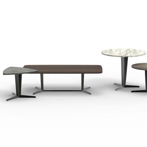 contemporary coffee table / cast aluminum / rectangular / round