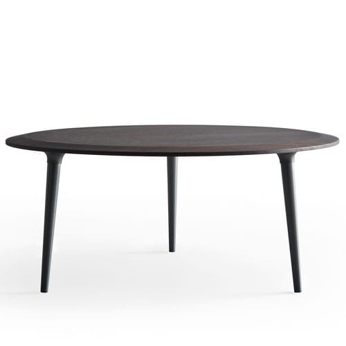 contemporary coffee table / wooden / marble / round