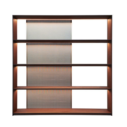 contemporary bookcase / wooden / aluminum