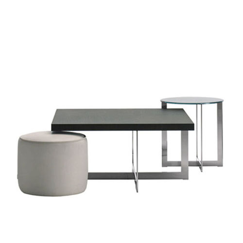 contemporary side table / glass / metal / marble