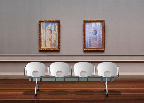 steel beam chair / 4-seater / indoor