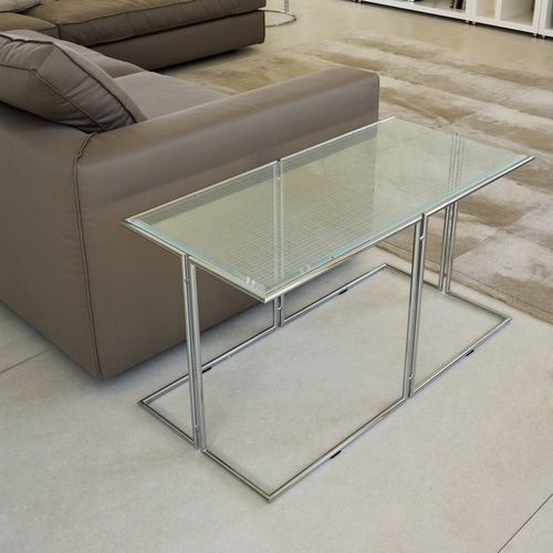 Contemporary Side Table Bridge Rivolta Metal Tempered Glass Rectangular - Small Black Metal Rectangle Side Table