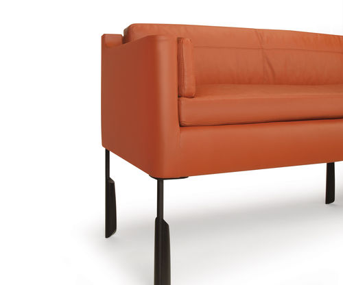 contemporary sofa / leather / metal / walnut