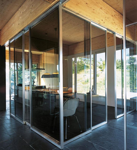 fixed partition / sliding / wooden / crystal