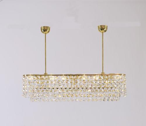 traditional chandelier / crystal / brass / handmade