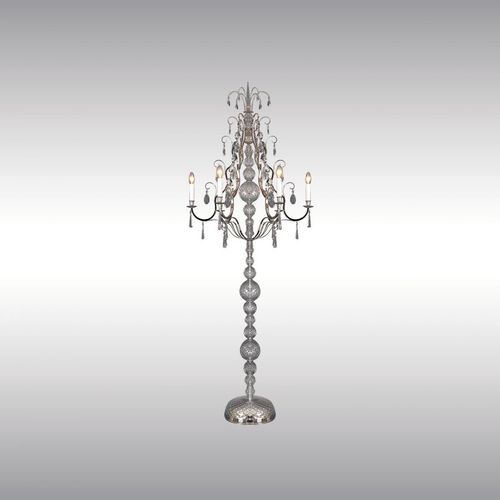 floor-standing lamp / classic / brass / crystal