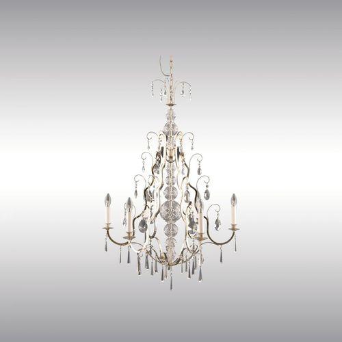 classic chandelier / crystal / brass