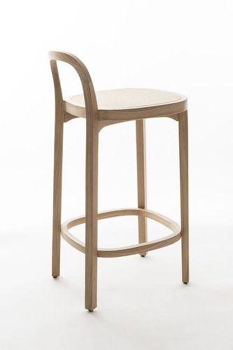contemporary bar chair / leather / wooden