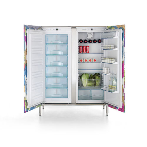 upright refrigerator-freezer / white / stainless steel / internal freezer compartment