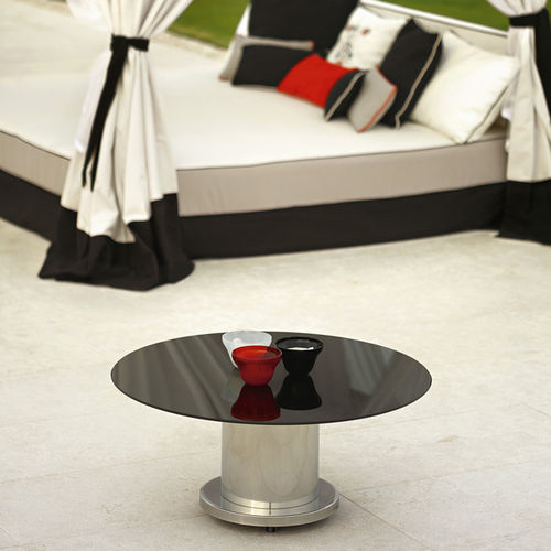 contemporary coffee table / glass / metal base / round