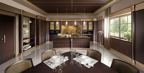 classic kitchen / solid wood / lacquered wood / wenge