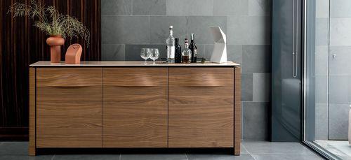 contemporary sideboard / wood veneer / ceramic