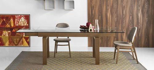 Contemporary Dining Table Hyper Calligaris Solid Wood Tempered Glass Rectangular