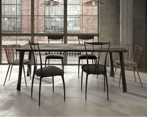 contemporary dining table / lacquered wood / steel / iron