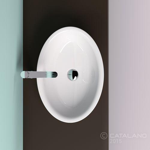 countertop washbasin / oval / ceramic / contemporary