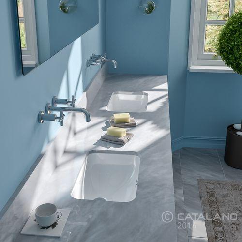 double washbasin / undercounter / rectangular / ceramic